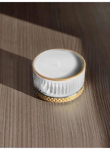 The Mia Cam İçi Dolu Mumluk - Beyaz Gold 5 X 9 Cm Renkli